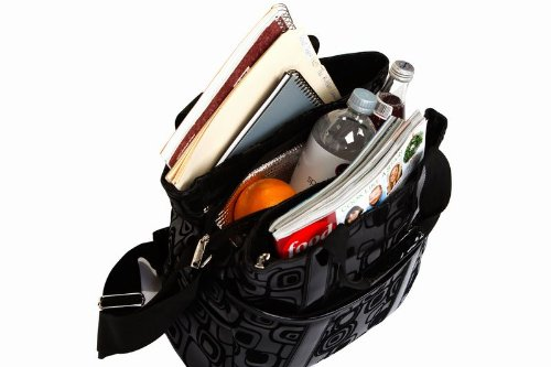 Fashionable Hybrid Tote w/ Sections for Files, a Tablet & Lunch – Graphix Black
