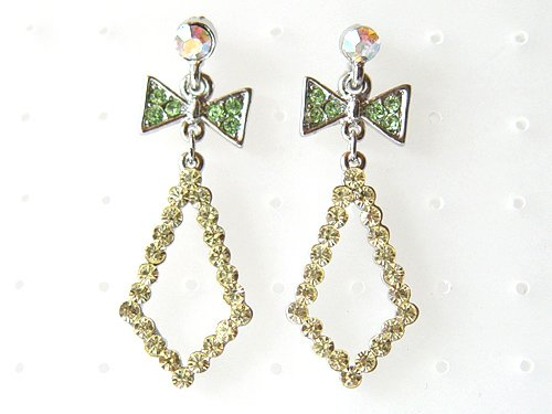Diamond Shape Peridot Green Bow Dangle Drop Cluster Crystal Rhinestone Earrings