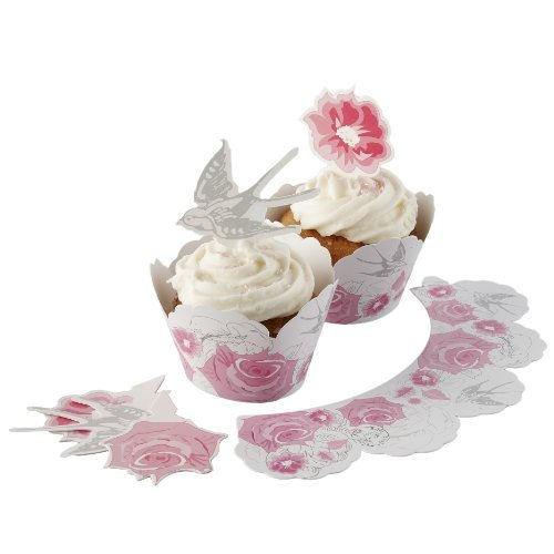 Ginger Ray Rose & Swallow Vintage Cupcake Toppers & Wraps - Enchanted Rose