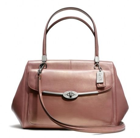 NWT Coach Madison Madeline East West E/W Satchel in Metallic Leather Rose Gold 25164