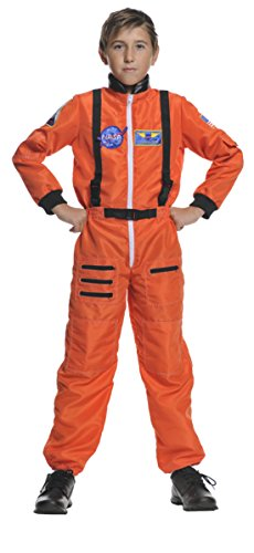 Boys Astronaut Orange Kids Child Fancy Dress Party Halloween Costume