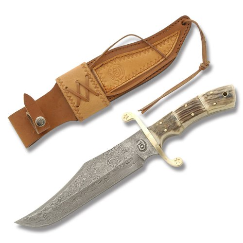 Colt Knives 408 Damascus Alamo Bowie Fixed Blade Knife With Genuine Stag Handles