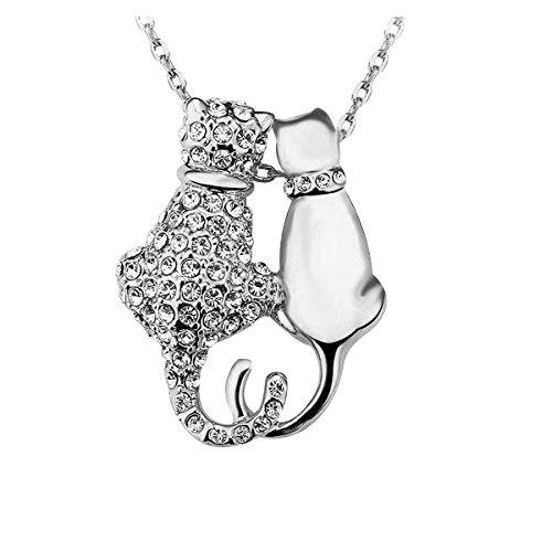 Yparah - Collana Duo, motivo: gatti, colore: argento, con cristalli di Swarovski, donna