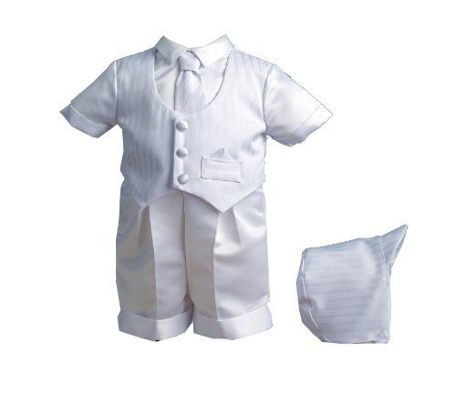 Lauren Madison baby boy Christening Baptism Special occasion Infant Satin Striped Vestie Set With Satin Boxer Short, White, 6-9 Months