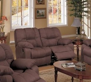Buy Low Price Poundex Chocolate Brown Microfiber Motion Recliner Loveseat Sofa (VF_F7751)