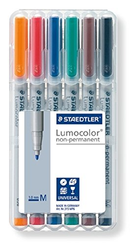 Staedtler Lumocolor Boîte de 6 feutres universels non-permanents Couleurs assorties Pointe 1,0 mm