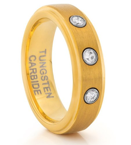 6MM Tungsten Carbide Brushed Gold CZ Wedding Band Ring (Available Sizes H - V)