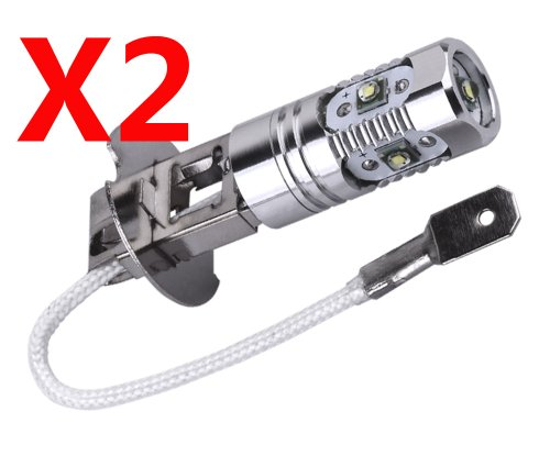 S&D 2Pcs/One Pair Pure White H3 25W Cree Xpe Led 5 Chips Auto/Car/Truck/Vehicle Head Signal Turn Brake Parking Tail Drl Fog Lights Bulb Lamp Light Source, 6000K, 1000-1200Lm