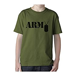 Kids Military Army Style Olive T-Shirt - Dog Tags
