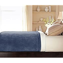 Sunbeam - Queen Size Heated Blanket Luxurious Velvet Plush with 2 Digital Controllers and Auto-off Feature - 5yr Warranty (Blue)