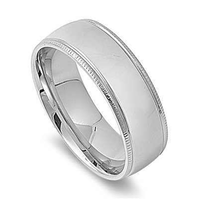 Size 7, 8MM Stainless Steel Milgrain Edged Domed Wedding Band (Size 6 to 14)