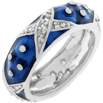 White Gold Rhodium Bonded and Navy Blue Hand Applied Enamel Overlay Eternity Ring with Handset Clear Cz Xs and Silvertone Polk-a-dots Women Jewelry (10)