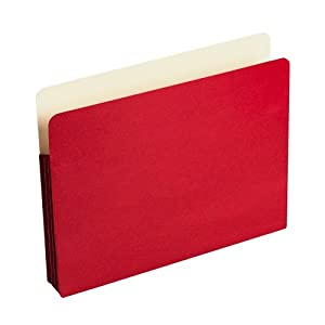 "Wilson Jones Colorlife Recycled (50%) Expanding File Pockets, Letter Size, 3-1/2"" Expansion, Red, 25/box, WCC64R"