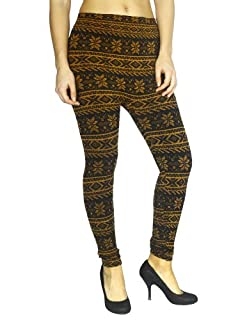 Simplicity Women Warm Tights Leggings Winter Pattern Striped Multi-Colored