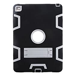 Magideal Shockproof Heavy Duty With Hard Stand Case Cover for iPad Air 2 Black&Grey