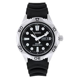 Seiko Men's SNE107P2 Black Rubber Quartz Watch with Black Dial