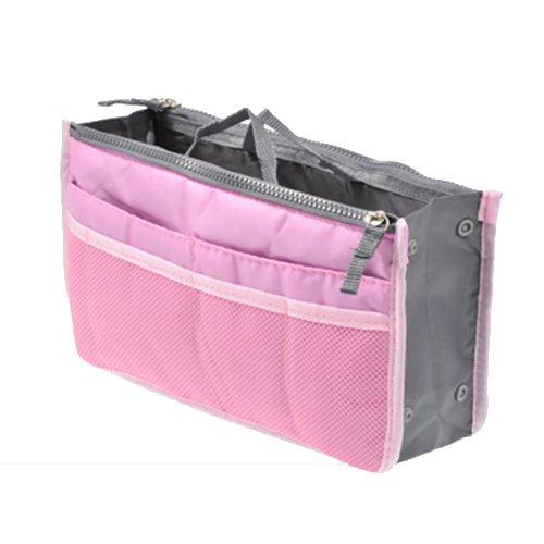 UINK 高品質 【システムバッグインバッグ(男女兼用)10カラー】 バッグでバッグを簡単収納!お財布・携帯などの必需品から手帳やペンもピッタリサイズ! 【ライトピンク】