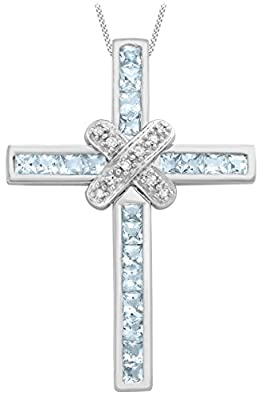 Carissima 9ct White Gold 0.06ct Diamond and Blue Topaz Cross Pendant on Chain Necklace 46cm/18""
