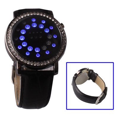 ON OFFER - Blue LED Diamond Jewelry Digital Watch with Leather Watchband (Display Time / Date / Week), Black - WINTER SALE