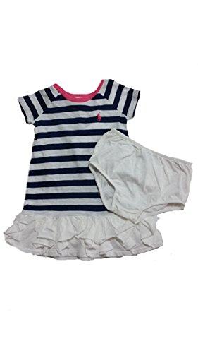 Ralph Lauren Baby Girls' Navy White Stripe Playwear Dress-9 Months