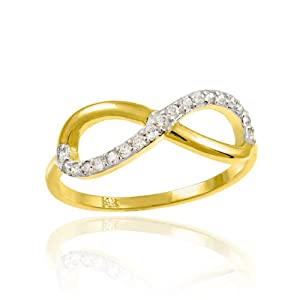 Yellow-tone Sterling Silver Round Diamond Infinity Ring 0.48 Cttw