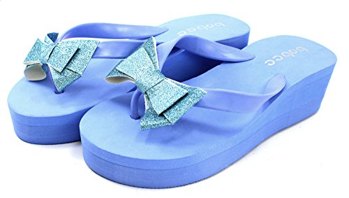 Bobee Women's Pamela 78 Platform Flip Flop Colored Bow Sandals Beach,7 B(M) US,Turquoise (Inc Bow Flip Flops compare prices)