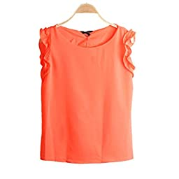 Generic Orange Summer Women Fashion Loose Casual Chiffon Sleeveless Shirt Tank Tops Blouse
