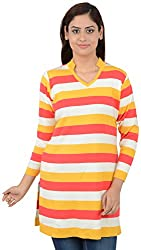Misstress Women's V-Neck Tunic (502 GOLD_Yellow_X-Large)