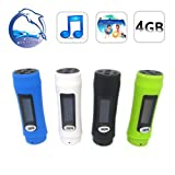 Waterproof MP3 Player with OLED screen display, FM Radio 4GB for Swimming 446F (Black, blue, white)