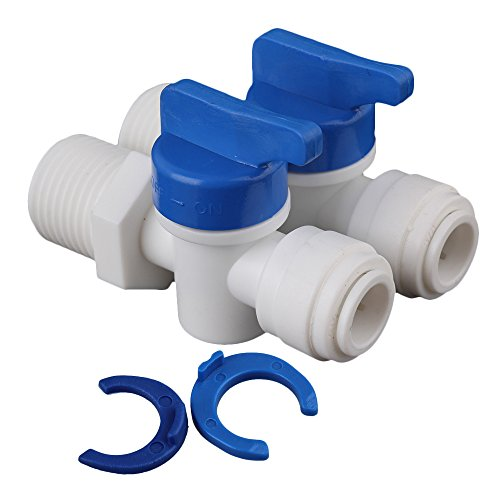 """BQLZR White 1/4"""" to 3/8 Ball Valve Quick Connect Fitting for Water Purifier Reverse Osmosis Systems Pack of 2"""