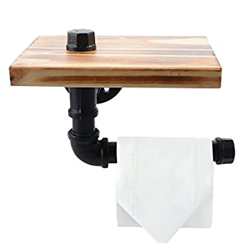 Toilet Paper Holder with Shelf, Industrial Iron Pipe Shelf/ Toilet Tissue Roll Holder - with Wooden Storage Wall Mounted Bathroom Shelf - Black