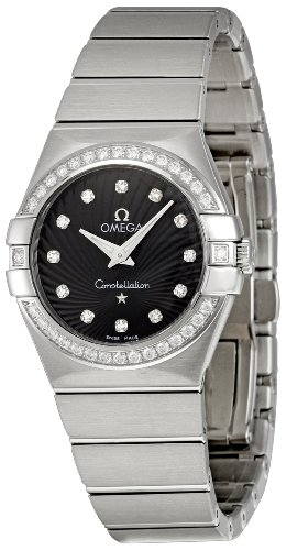 Omega Women's 123.15.27.60.51.001 Constellation Black Guilloche Dial Watch