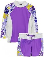 Tuga Girls UPF 50+ Shoreline L/S Rashguard and Swim Shorts (UV Sun Protective)
