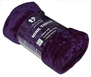 Mink Faux Fur Throw Aubergine/ Plum / Purple 127x152, Large 1 Seater Chair/Sofa / Bed Blanket