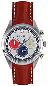 Oxygen Long Island 40 Unisex Quartz Watch with White Dial Analogue Display and Red Leather Strap EX-SDT-LON-40-CL-RE