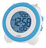 Vesper Multi Function Dual Loud Bell Alarm Clock Light and Snooze Feature White and Blue 15059