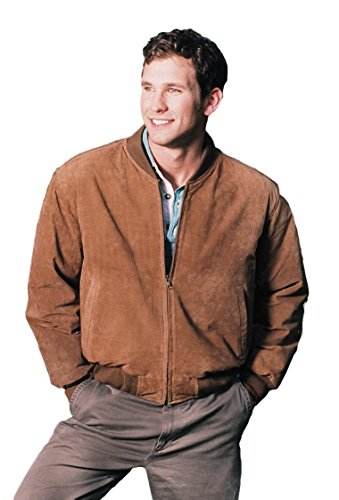 REED MEN`S BASEBALL SUEDE LEATHER JACKET (IMPORTED) (XL, CAMEL)