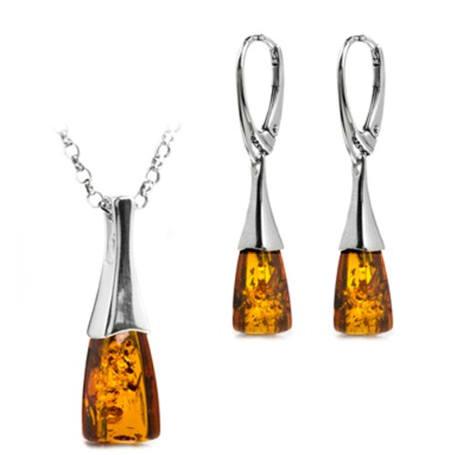 Certified Genuine Premium Quality Amber Sterling Silver Sale Contemporary Set Rolo Chain 18