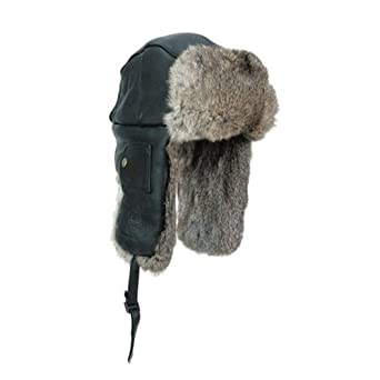 Mad Bomber Leather Bomber Hat with Real Rabbit Fur, Black, X-Large
