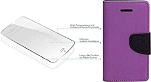 Generic Flip Cover For Samsung Galaxy Note 1 7100 With Tempered Glass (Purple)