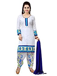 White Cotton Embroidered Unstitcehd Dress Material