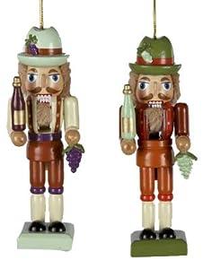 Wine Maker Nutcracker Set of 2 Christmas Ornaments