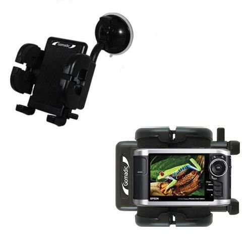 Windshield Vehicle Mount Cradle suitable for the Epson P-3000 Multimedia Photo Viewer - Flexible Gooseneck Holder with Suction Cup for Car / Auto. Lifetime Warranty
