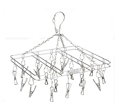 IBEET Hanger Rack - Set of 20, Clip and Drip, Stainless Steel - Drying Racks - Perfect for Hanging Clothes, Towels, Socks - Laundry Clothesline