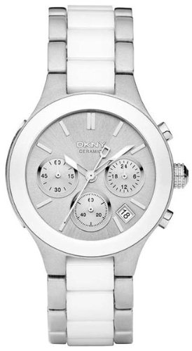 DKNY White Dial Chronograph Steel and Ceramic Ladies Watch NY8257