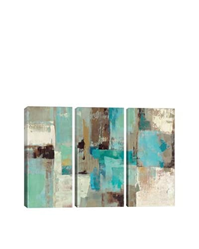 Silvia Vassileva Teal and Aqua Reflections #2 Gallery Wrapped Triptych Canvas Print