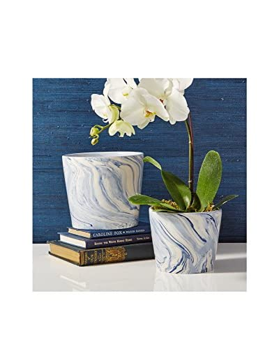 Set of 2 Terre Melée Blue & White Tapered Containers