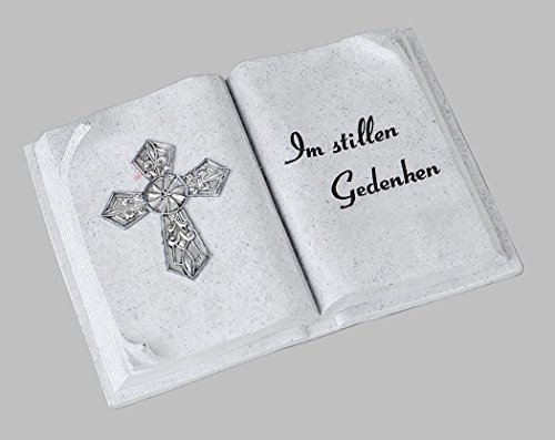 Grabschmuck Grabstein Gedenkstein Buch mit Spruch Kreuz Grabdeko Grab Deko Figur