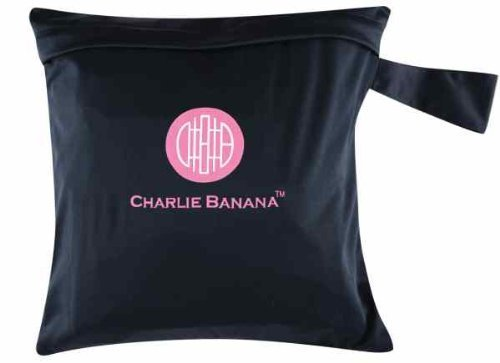 Charlie Banana Washable Diaper Tote Wet Bag (Black w/Pink) by Charlie Banana (English Manual)