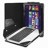 """Evecase Housse etui en cuir noir avec support de clavier détachable - pour Asus VivoTab TF810C 11,6"""" Windows 8 Tablette PC..."""